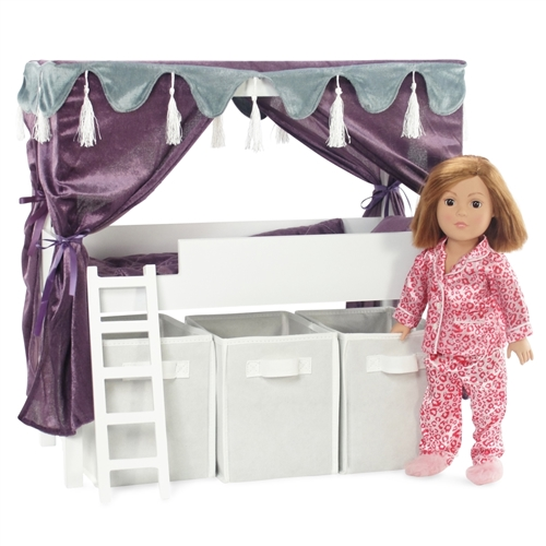 18 Inch Doll Furniture   Lofted Canopy Bed With Storage And Ladder   Fits American  Girl ® Dolls