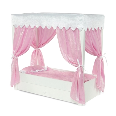 18-inch Doll Furniture - Princess Canopy Bed with Drawer - fits American Girl ® Dolls