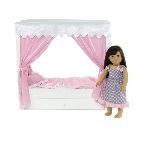 18-inch Doll Furniture - Princess Canopy Bed with Drawer - fits American Girl ® Dolls  sc 1 st  Emily Rose Doll Clothes & 18-inch Doll Furniture - Princess Canopy Bed with Drawer - fits ...