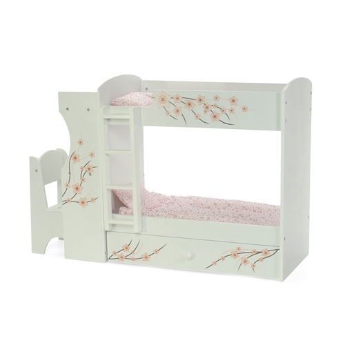 18 Inch Doll Furniture Bunk Bed With Built In Desk And Chair Fits