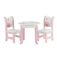18-Inch Doll Furniture - Table and Chairs with Floral Design - fits American Girl ® Dolls