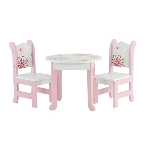 Exceptional 18 Inch Doll Furniture   Table And Chairs With Floral Design   Fits  American Girl ® Dolls