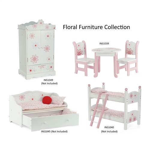 18 Inch Doll Furniture Table And Chairs With Floral Design Fits