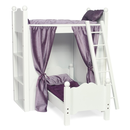 18 Inch Doll Furniture Bunk Bed With Shelves And Ladder Fits American Girl Dolls