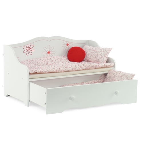 18 Inch Doll Furniture Day Bed With Trundle Storage Fits American Girl Dolls