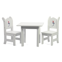 18-Inch Doll Furniture - White Table with Chairs and Rose Graphic - fits American Girl ® Dolls