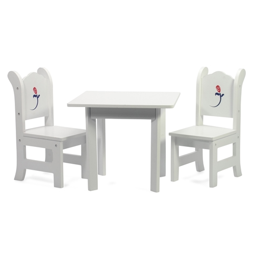 18 Inch Doll Furniture White Table With Chairs And Rose Graphic Fits American Girl Dolls