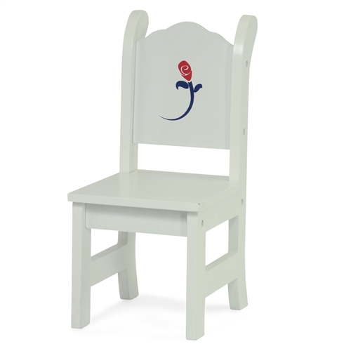 18 Inch Doll Furniture   White Table With Chairs And Rose Graphic   Fits  American Girl ® Dolls