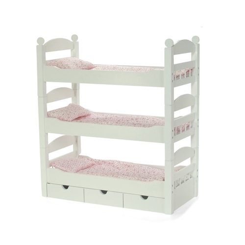 18 Inch Doll Furniture Stackable Triple Bunk Bed With Storage