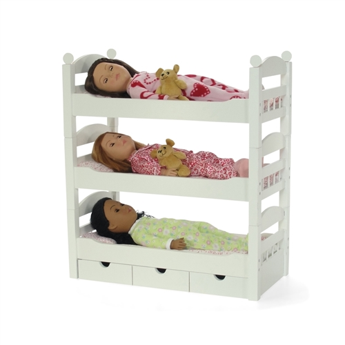 18 Inch Doll Furniture   Stackable Triple Bunk Bed With Storage   Fits American  Girl ® Dolls