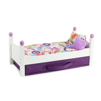 18-Inch Doll Furniture - White Stackable Single Bed with Bedding - fits American Girl ® Dolls