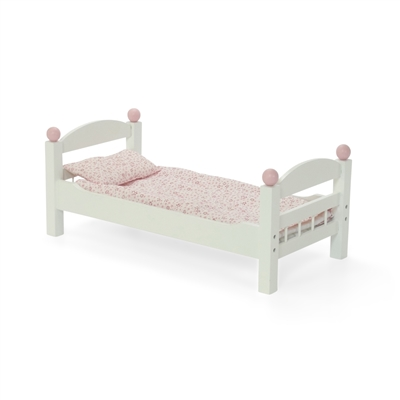 18-inch Doll Furniture - White Single Bunk Bed with Bedding - fits American Girl ® Dolls