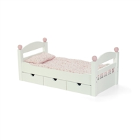 18-inch Doll Furniture - White Trundle Bed with Bedding - fits American Girl ® Dolls