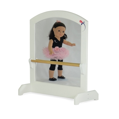 18-inch Doll Furniture - Ballerina Mirror with Ballet Barre - fits American Girl ® Dolls