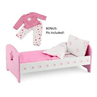 18-inch Doll Furniture - Pink Single Bed with Star Detail (Includes Bedding) - fits American Girl ® Dolls