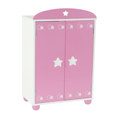 18-inch Doll Furniture - Pink Armoire with Star Detail  (Includes 4 Clothes Hangers) - fits American Girl ® Dolls