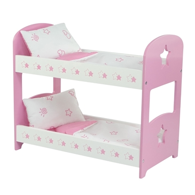 18-inch Doll Furniture - Star Themed, Pink Bunk Bed with Bedding - fits American Girl ® Dolls