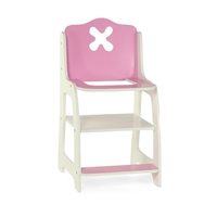 18-inch Doll Furniture - Flower Themed, Pink and White High Chair - fits American Girl ® Dolls