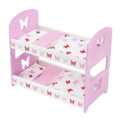 18-inch Doll Furniture - Butterfly Collection Bunk Bed (Includes Bedding) - fits American Girl ® Dolls
