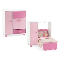 18-inch Doll Furniture - All In One Doll Murphy Bed and Closet (includes 5 Clothes Hangers) - fits American Girl ® Dolls