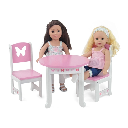18 Inch Doll Furniture Butterfly Collection Table And 2 Chair
