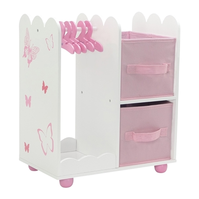 18-inch Doll Furniture - Butterfly Collection Open Wardrobe (includes 5 Clothes Hangers) - fits American Girl ® Dolls