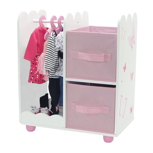 18 Inch Doll Furniture   Butterfly Collection Open Wardrobe (includes 5  Clothes Hangers)   Fits American Girl ® Dolls