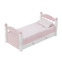 18-inch Doll Furniture - Pink Stackable Trundle Bed with Bedding - fits American Girl ® Dolls