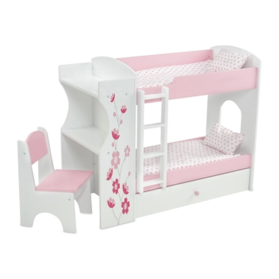 18 inch doll furniture bunk bed with built in desk and storage fits american girl dolls. Black Bedroom Furniture Sets. Home Design Ideas