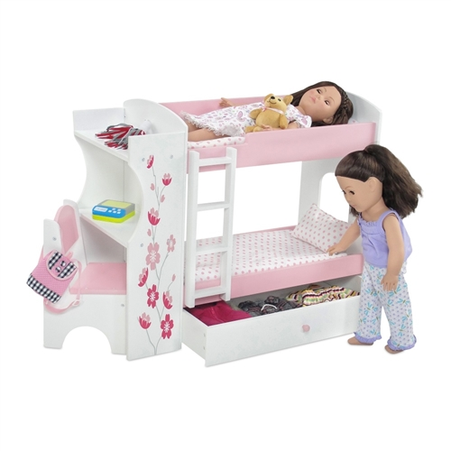 18 Inch Doll Furniture Bunk Bed With Built In Desk And Storage