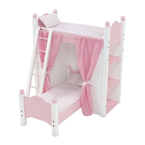 18 Inch Doll Furniture Bunk Bed With Shelves And Curtains Fits