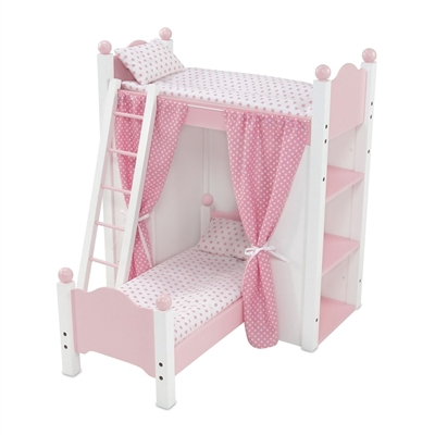 18-Inch Doll Furniture - Bunk Bed with Shelves and Curtains - fits American Girl ® Dolls