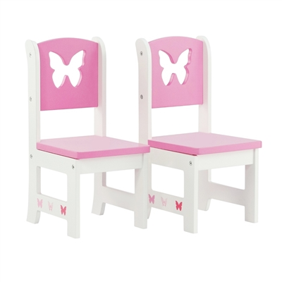 18-inch Doll Furniture - Butterfly Collection 2 Chair Dining Set - fits American Girl ® Dolls