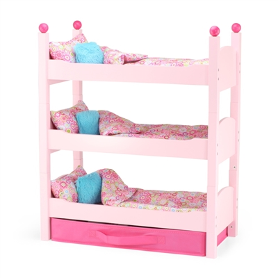 18-Inch Doll Furniture - Pink Stackable Triple Bunkbed with Storage - fits American Girl ® Dolls