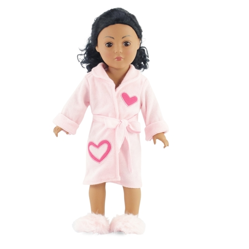 18-inch Doll Clothes - Pink Heart Bathrobe with Matching Fuzzy Slippers 90549a601