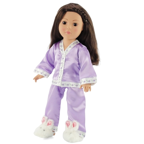 536e07cd36 18-inch Doll Clothes - Purple Satin Pajamas PJs with Matching Slippers