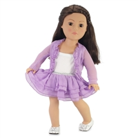 18-inch Doll Clothes - Purple Skirt and Cardigan Outfit - fits American Girl ® Dolls