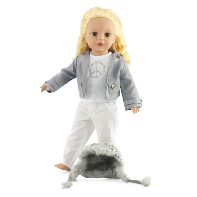18-inch Doll Clothes - Gray Jacket and Fur Lined Hat with T-shirt and Skinny Pants - fits American Girl ® Dolls