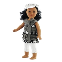 18-inch Doll Clothes - Zebra Ruffle Shirt with Leggings and White Sparkly Hat - fits American Girl ® Dolls