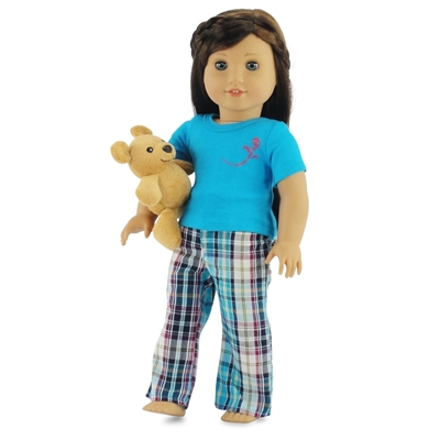 18-inch Doll Clothes - Plaid Style Pajamas/PJs plus Teddy Bear - fits American Girl ® Dolls