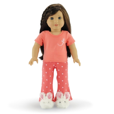 18-inch Doll Clothes - Coral Polka Dot Pajamas/PJs plus Bunny Slippers - fits American Girl ® Dolls
