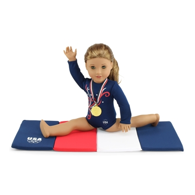 18-inch Doll Clothes - Gymnastics Leotard plus Tumbling Mat and Gold Medal - fits American Girl ® Dolls