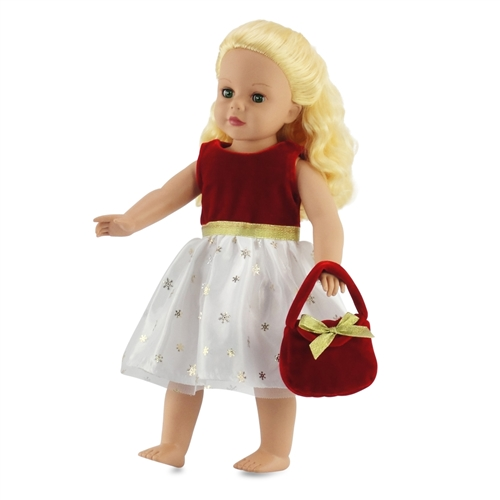18-inch Doll Clothes - Red Holiday Dress with Purse - fits ...