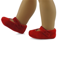 18-inch Doll Shoes - Red Velvet Slippers - fits American Girl ® Dolls