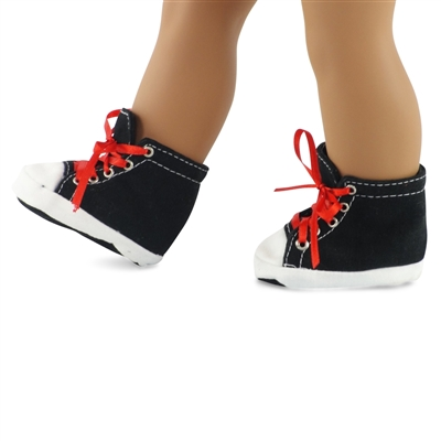 18-inch Doll Shoes - Black High Top Sneakers - fits American Girl ® Dolls