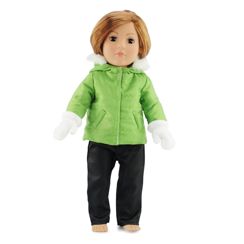 18-inch Doll Clothes - Ski Suit Green Hooded Jacket with Black Pants ... 4d870c079
