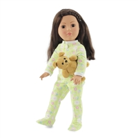 18-inch Doll Clothes - One Piece Footed Pajamas/PJs Green Floral Style plus Teddy Bear - fits American Girl ® Dolls