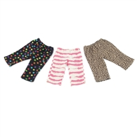 18-Inch Doll Clothes - Sassy Leggings 3-Pack with Cheetah, Polka Dot and Abstract Patterns - fits American Girl ® Dolls