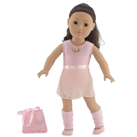 18-Inch Doll Clothes - Ballerina Practice Outfit with Pink Leotard, Skirt, Leggings, Dance Shoes and Handbag - fits American Girl ® Dolls