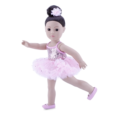 18-Inch Doll Clothes - Ballerina Outfit with Black Unitard, Pink Tutu, Hair Piece and Dance Shoes - fits American Girl ® Dolls
